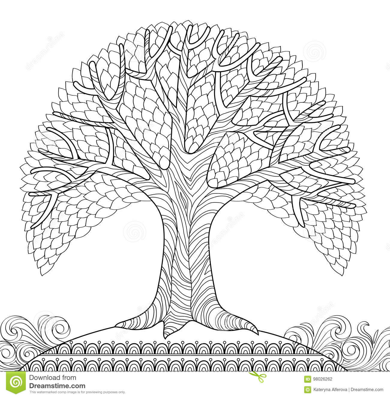 Decorative Tree Adult Antistress Coloring Page Black And White Hand Drawn Doodle For Book Vector Illustration