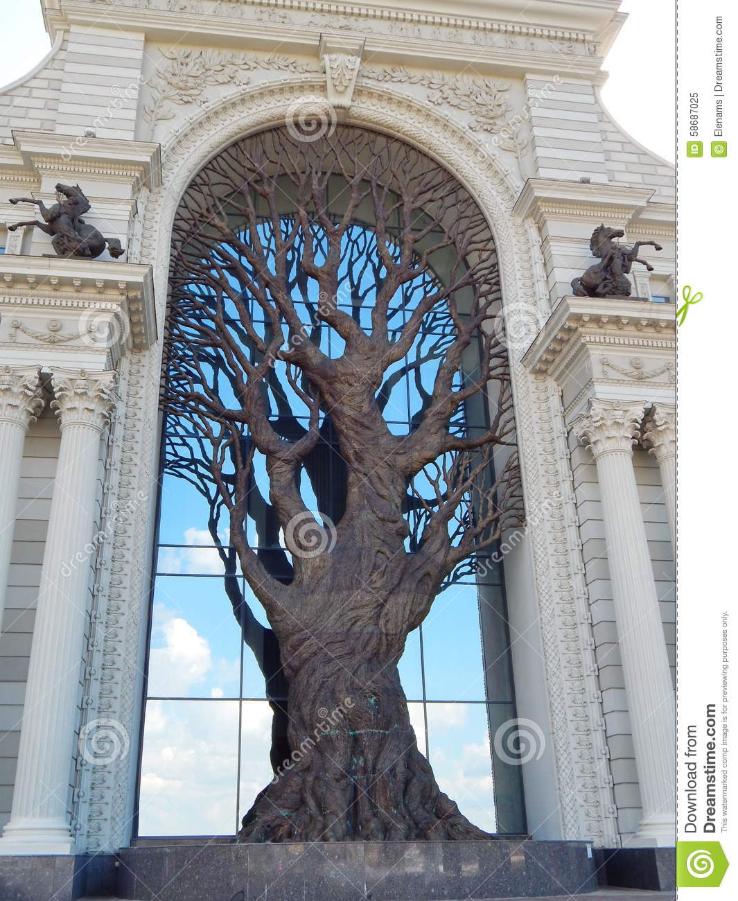 a decorative tree on the facade of the palace of farmers in the city of kazan in the republic. Black Bedroom Furniture Sets. Home Design Ideas