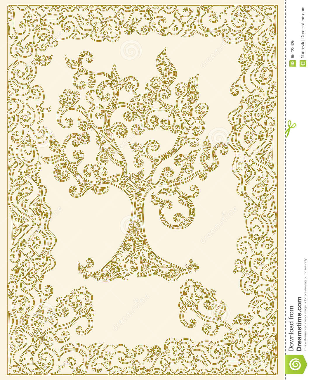Decorative Tree Of Life With Frame Stock Illustration Illustration