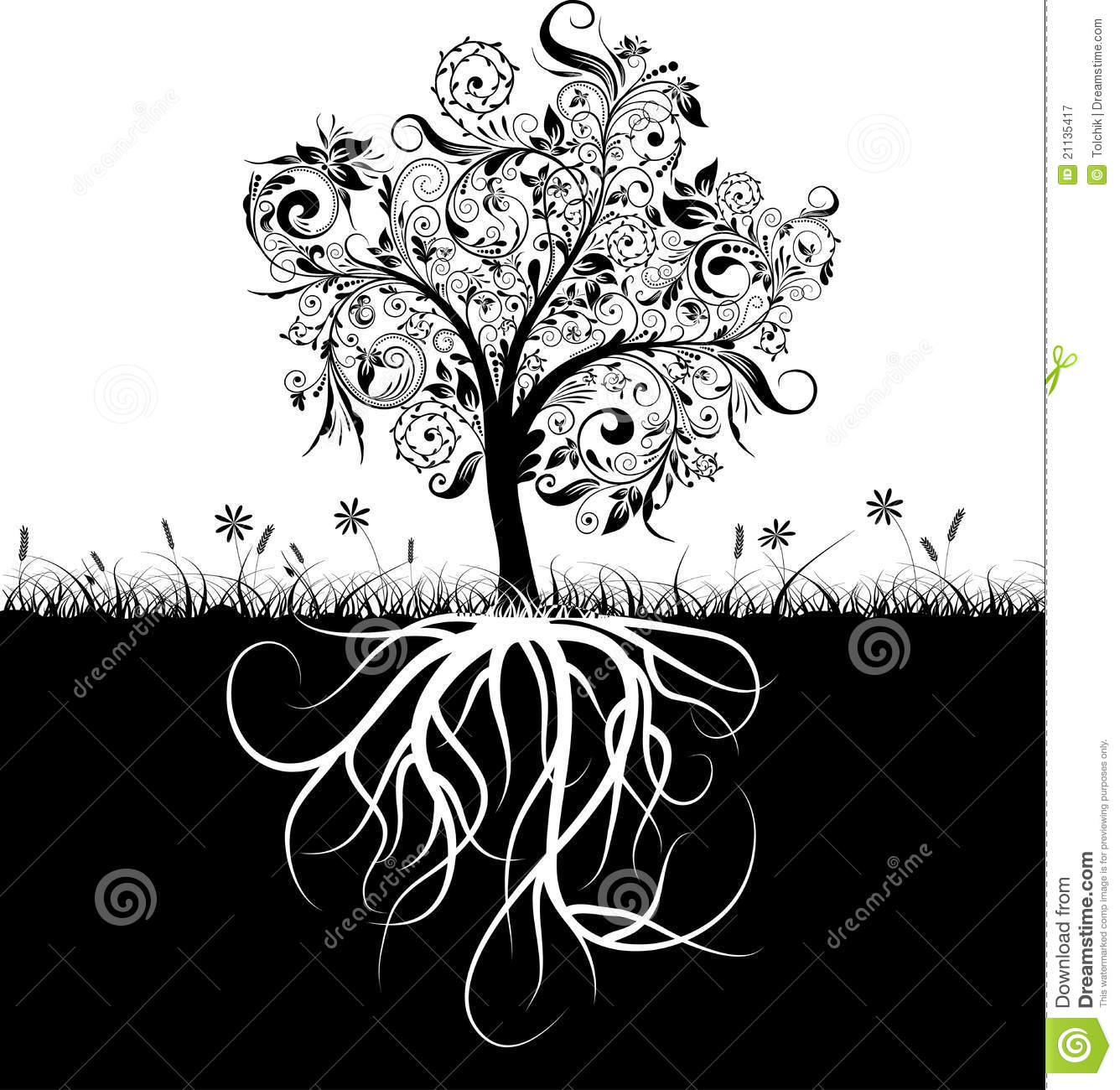 More similar stock images of ` Decorative tree and roots, grass `