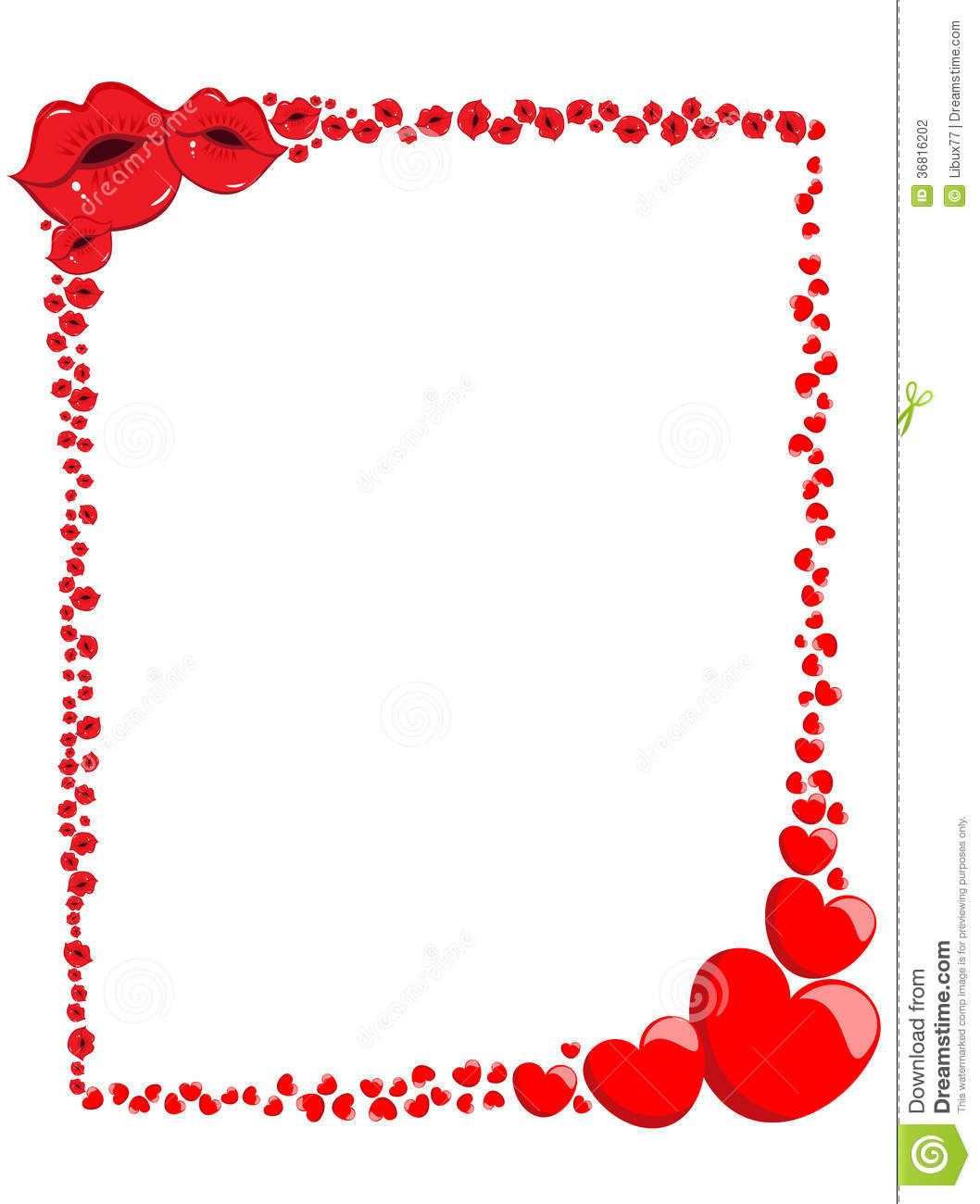 Decorative Valentine Love Frame Or Border Stock Photography - Image ...