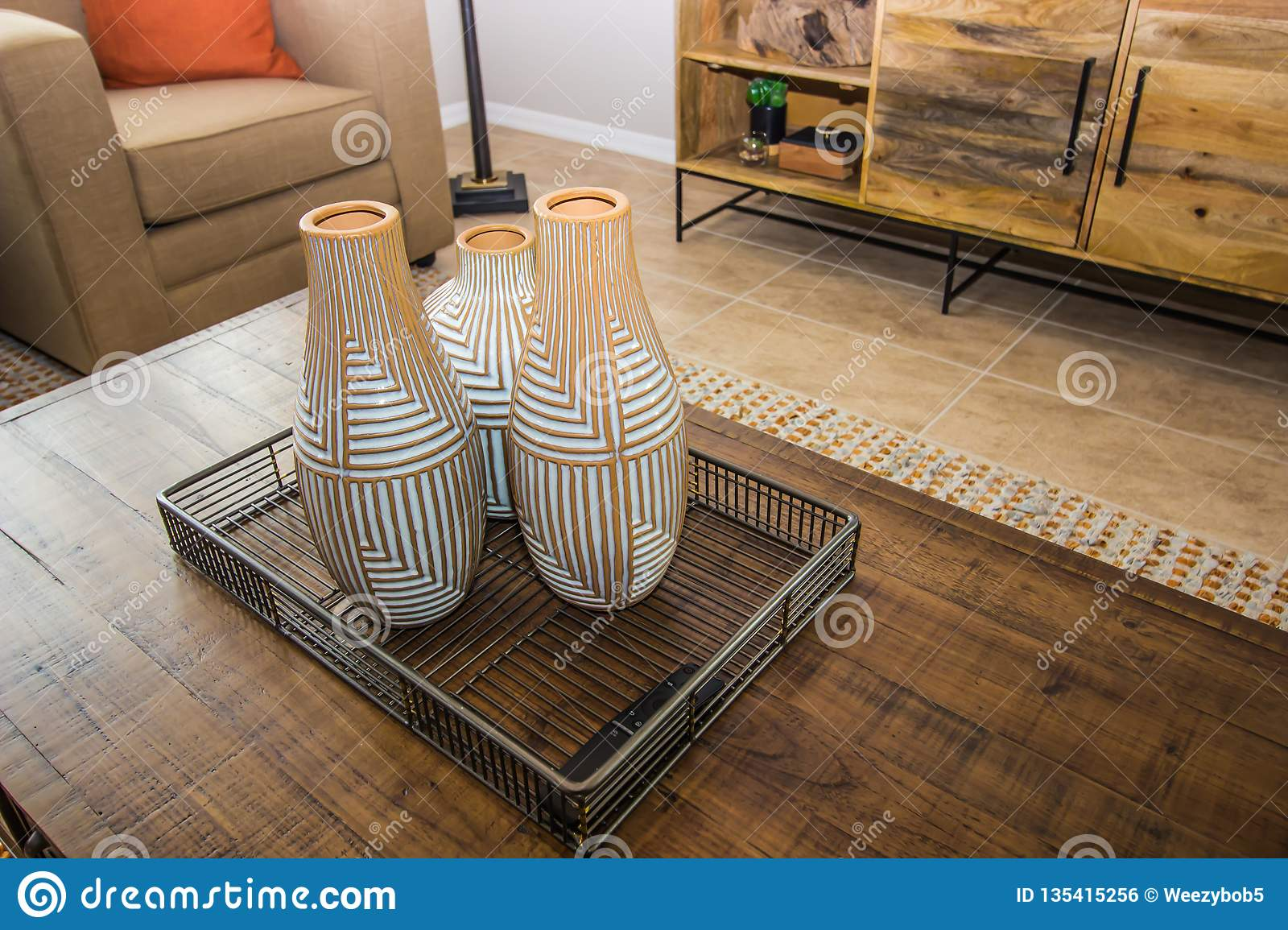Decorative Vases On Coffee Table Stock Photo - Image of ...