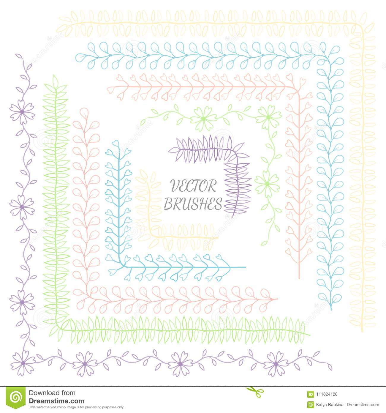Decorative vector brushes with inner and outer corner tiles.Vector isolate element. Design template. Holiday, artistic decor.