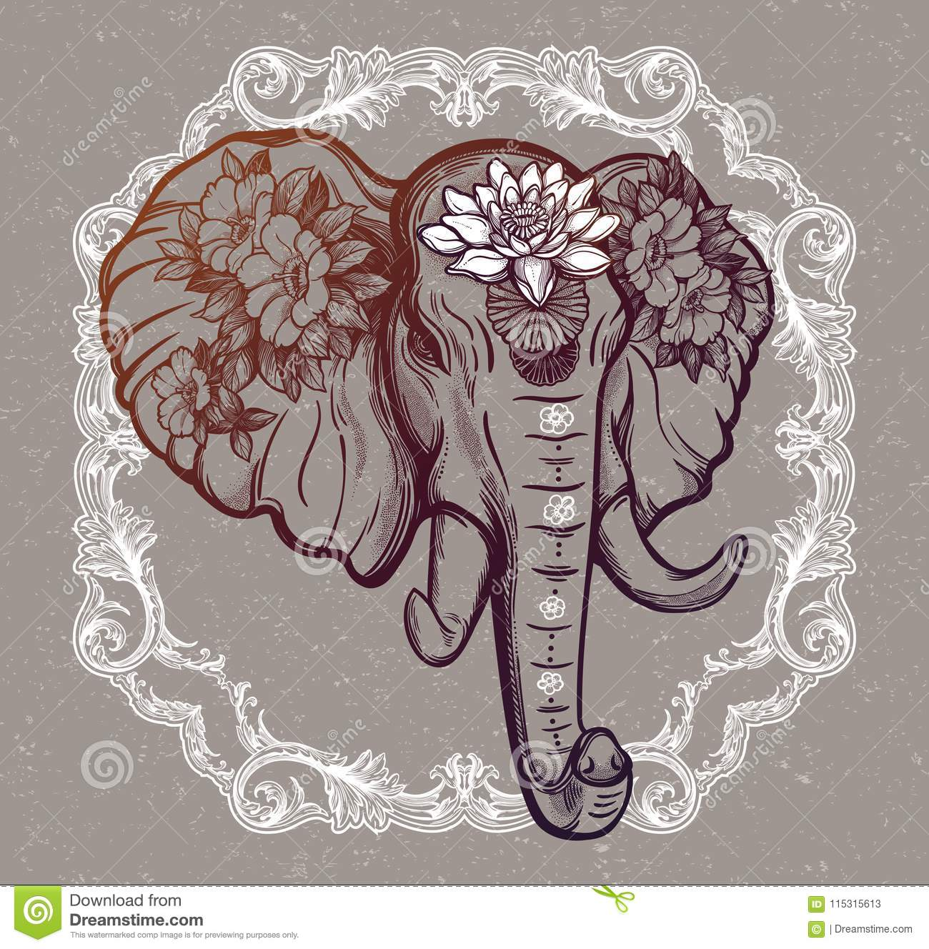 Decorative Vector Elephant With Flowers Stock Vector