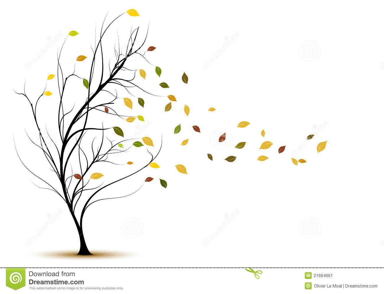 decorative vector tree silhouette in autumn stock vector Windy Cartoon Windy Cartoon