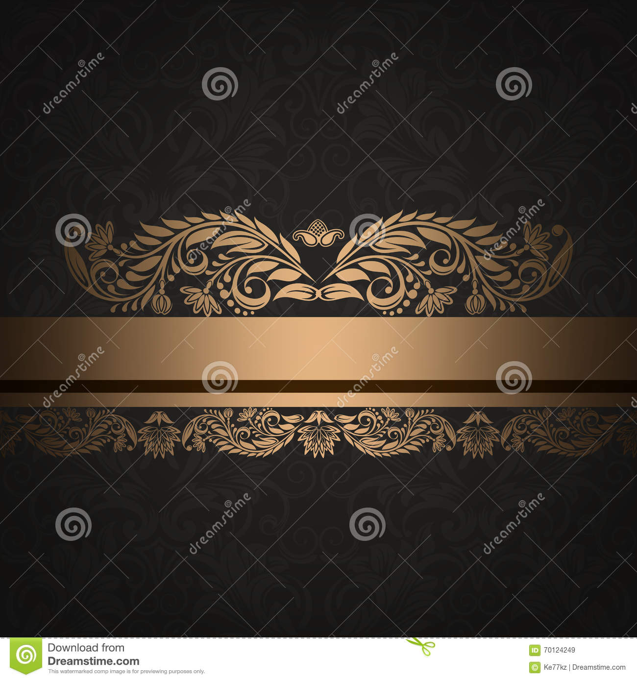 Decorative Black Flower Border Stock Image: Decorative Vintage Background With Gold Floral Border
