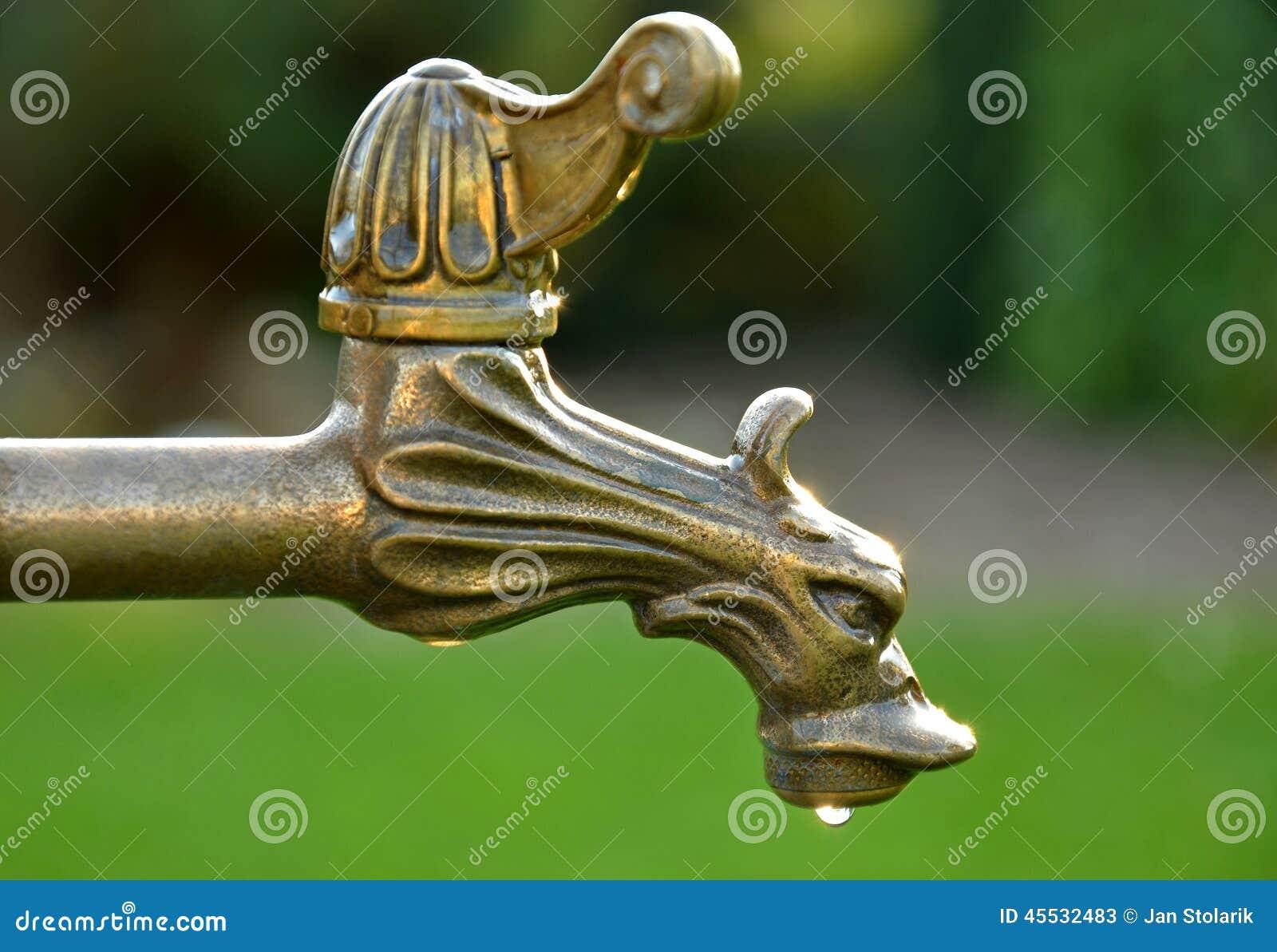 Decorative Vintage Brass Tap Water Stock Photo Image