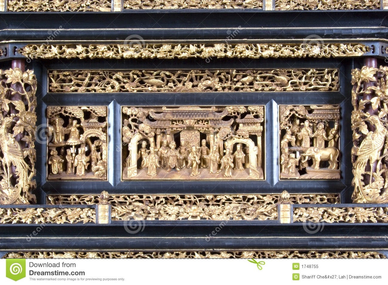 Decorative vintage chinese wood carving stock image