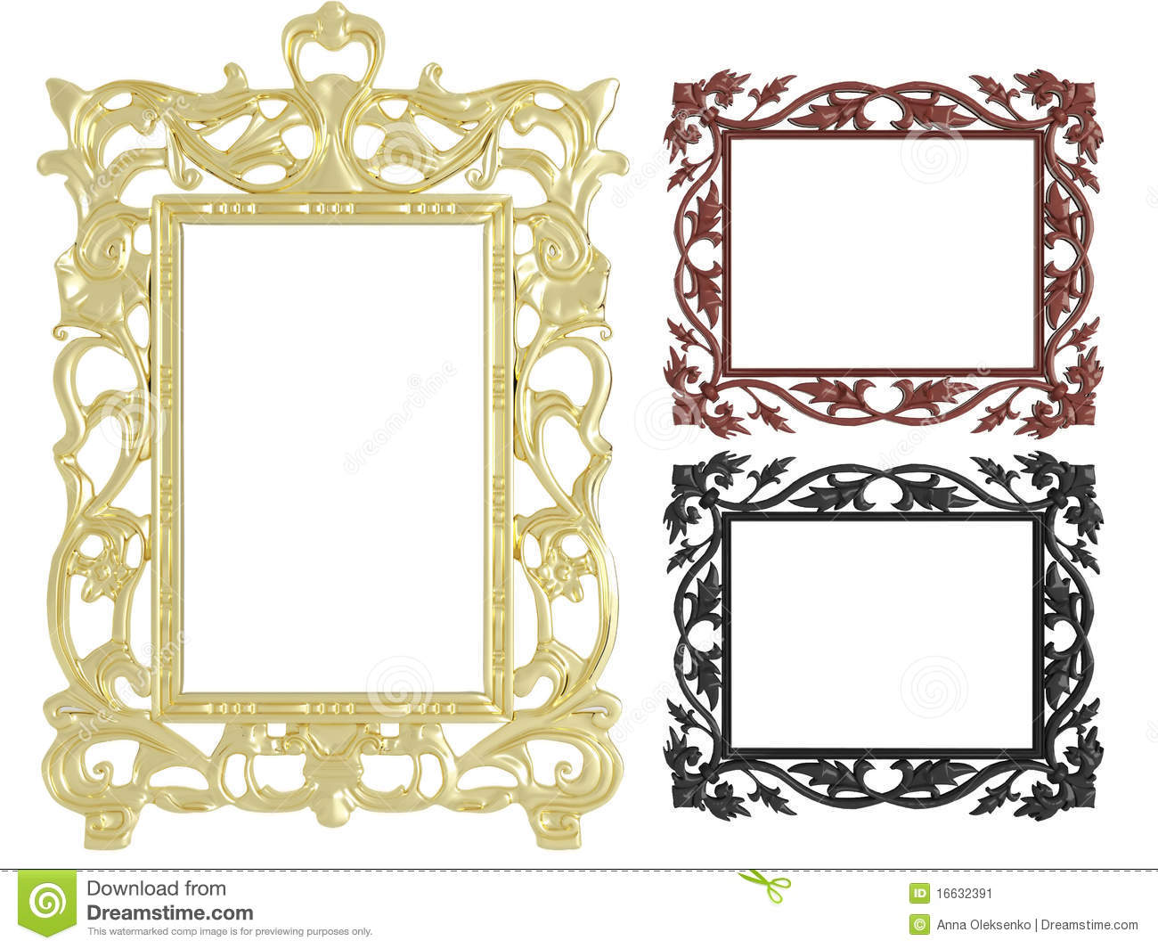 Decorative Wall Frames Photos : Decorative vintage empty wall picture frames stock image
