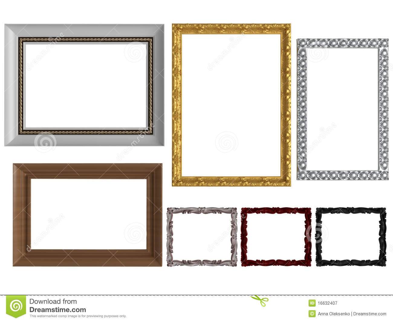 Decorative vintage empty wall picture frames stock for Unique wall frames
