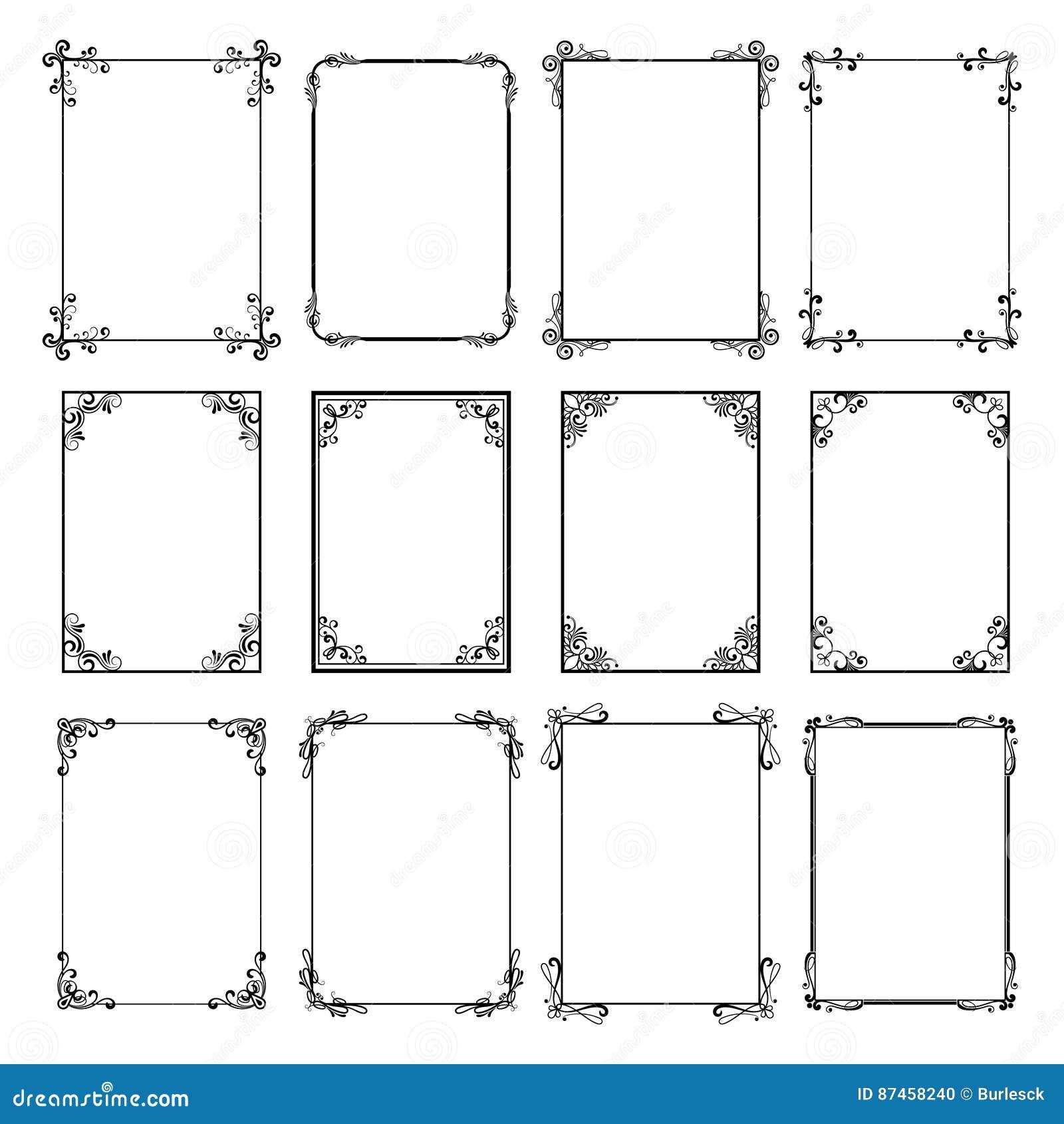 Decorative vintage frames vector black borders isolated on white decorative vintage frames vector black borders isolated on white background frame templates for cards design jeuxipadfo Choice Image