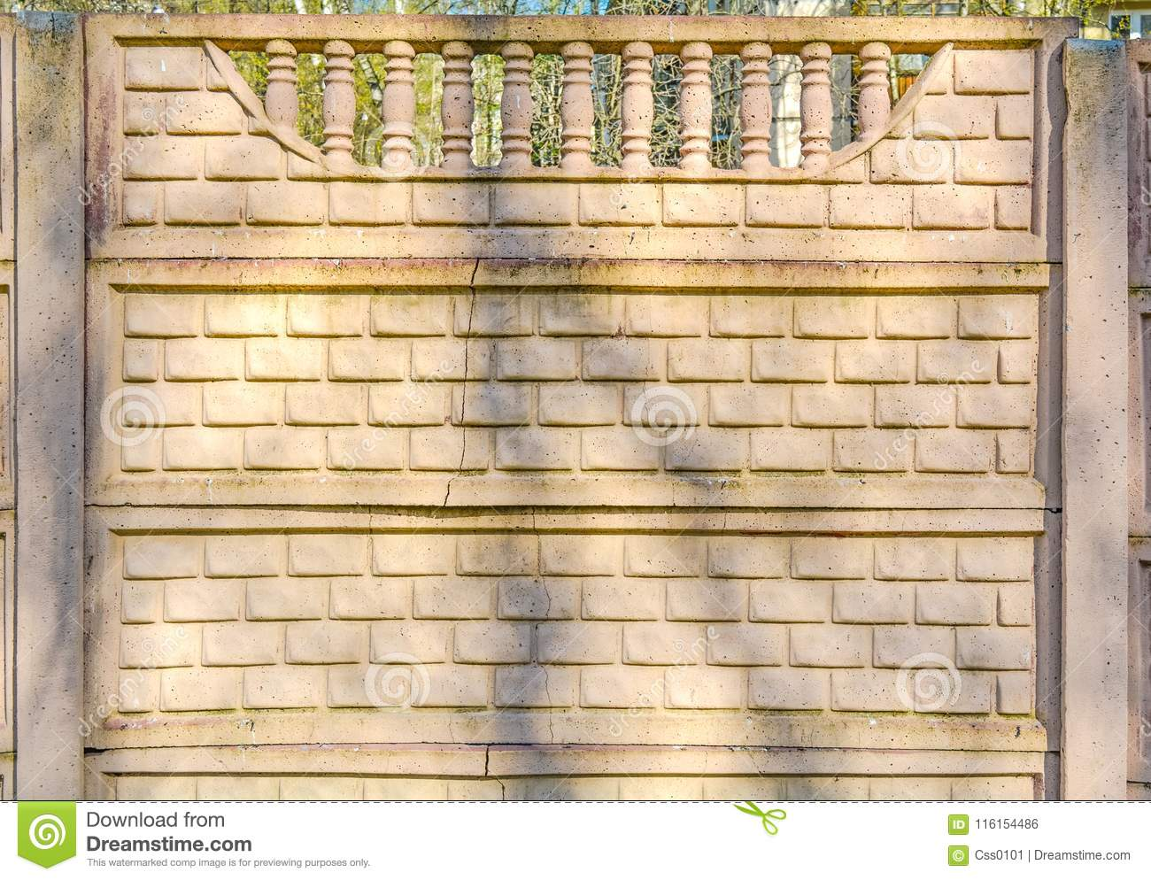 Decorative Wall Of Bricks Fence Wall With Pillars On Top Stock Photo ...