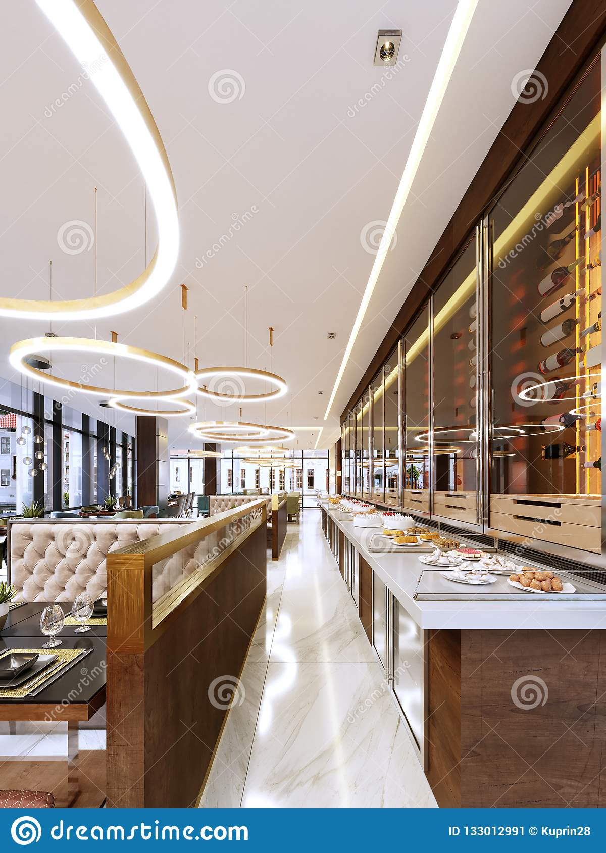 Decorative Wall In Modern Restaurant With Bottles Under Glass With Light Wine Bottle Cooler Restaurant Design Stock Illustration Illustration Of Drink Lamp 133012991