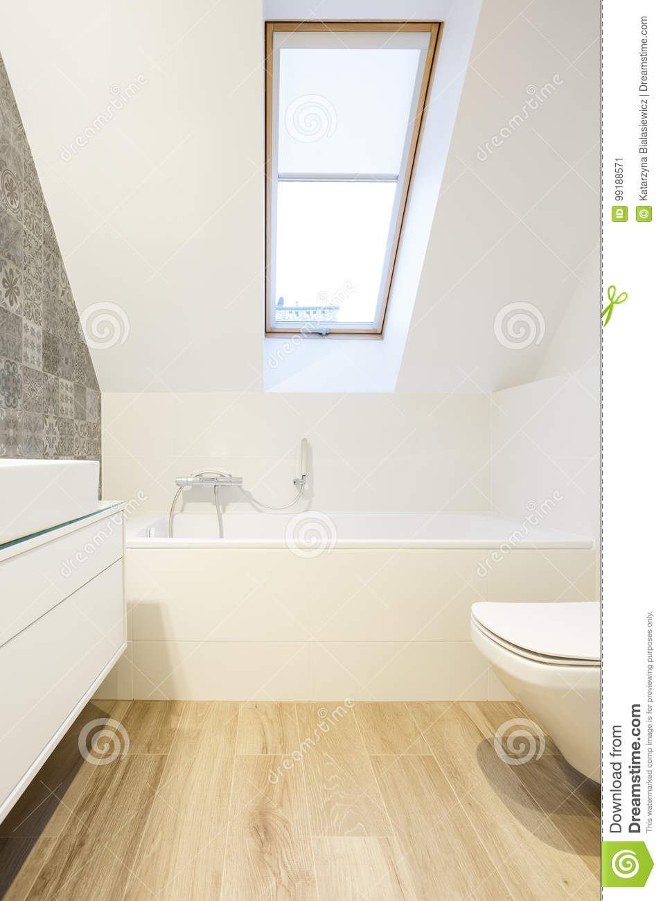 Decorative Wall In Minimalist Bathroom Stock Image - Image of tiles ...
