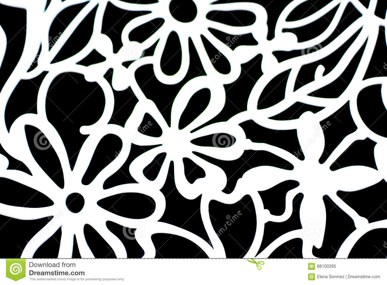 Decorative wallpaper with white flowers on black background