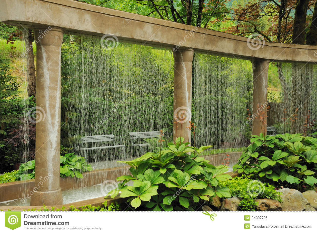 Decorative Water Wall In The Garden Stock Photo - Image of fountain ...