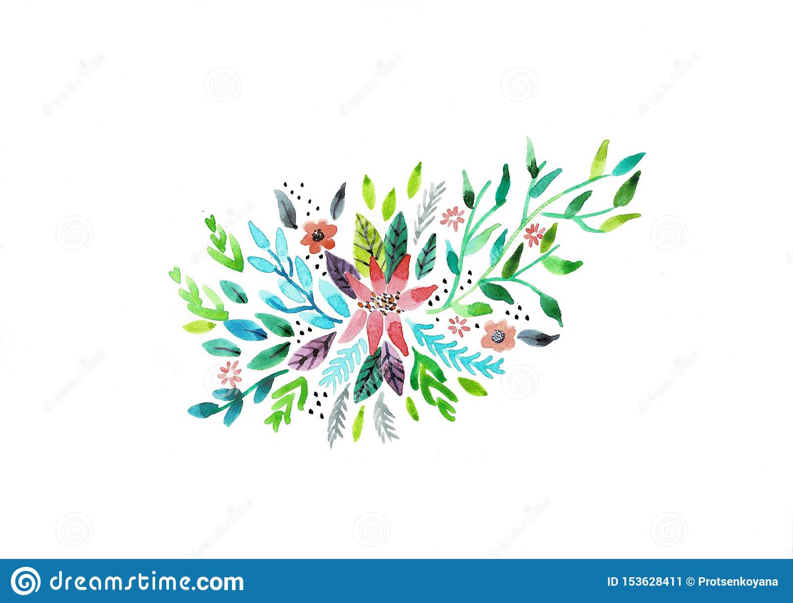 Decorative watercolor flowers. floral illustration, Leaf and buds. Botanic composition for wedding or greeting card