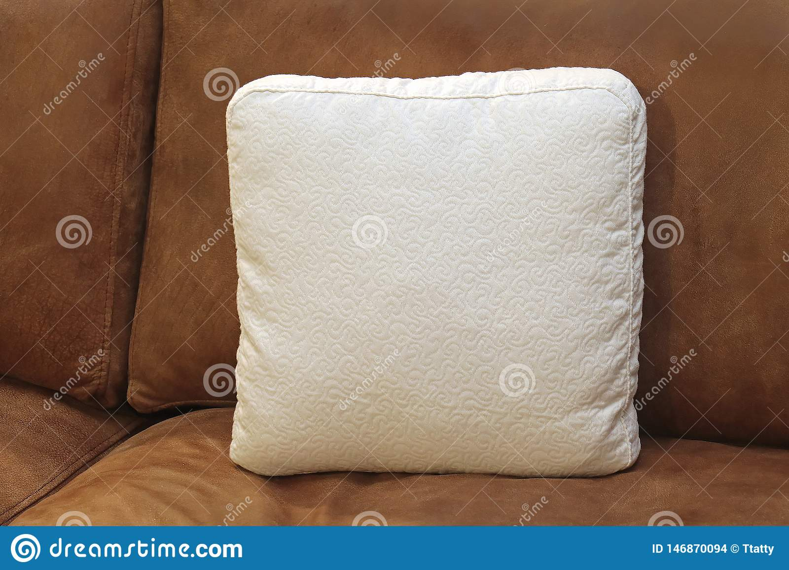 Superb Decorative Pillow On Leather Couch Stock Photo Image Of Ibusinesslaw Wood Chair Design Ideas Ibusinesslaworg