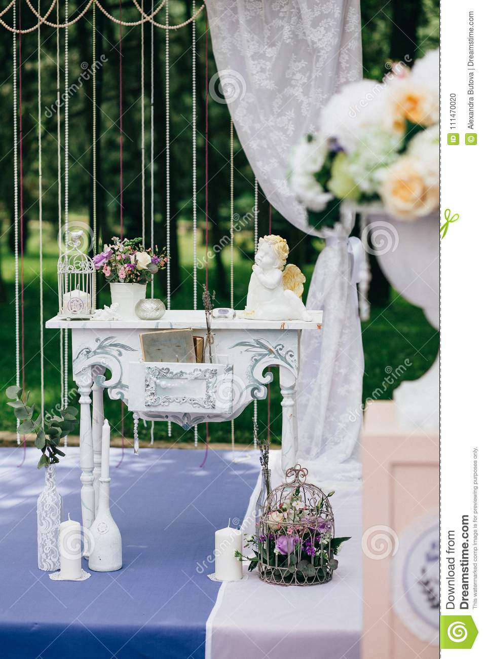 Decorative White Vintage Table At The Wedding Ceremony Candle