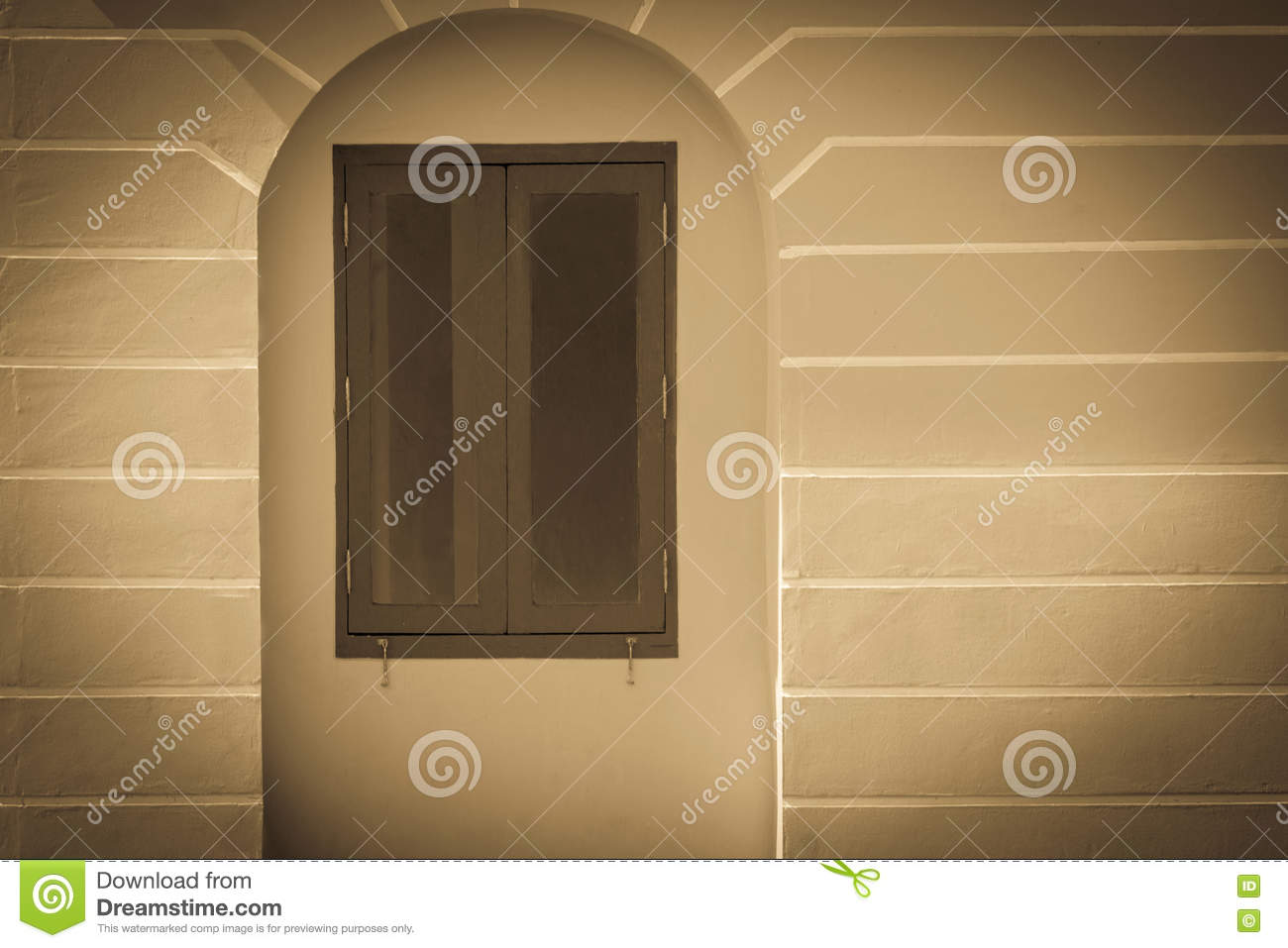 Decorative Window Vintage Frame On Old Building Stucco Wall With ...