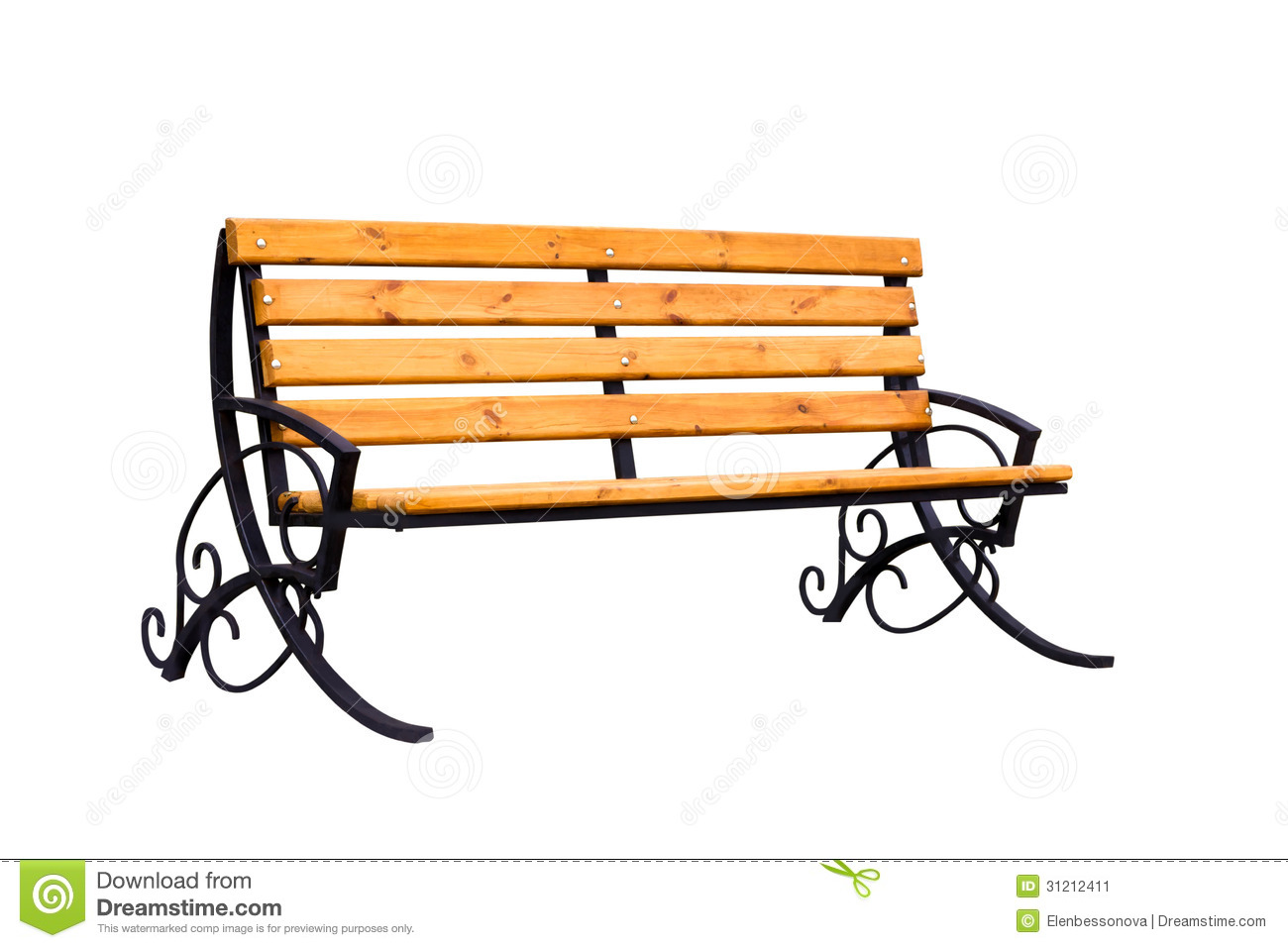Decorative wooden bench isolated over a white background.