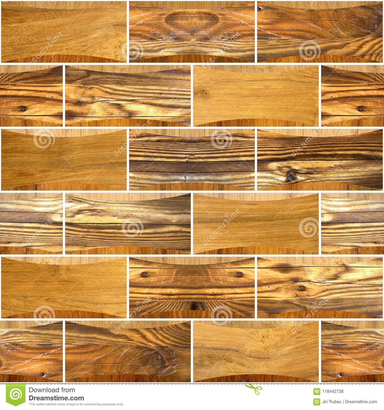 Decorative Wooden Bricks - Interior Wall Decoration Stock