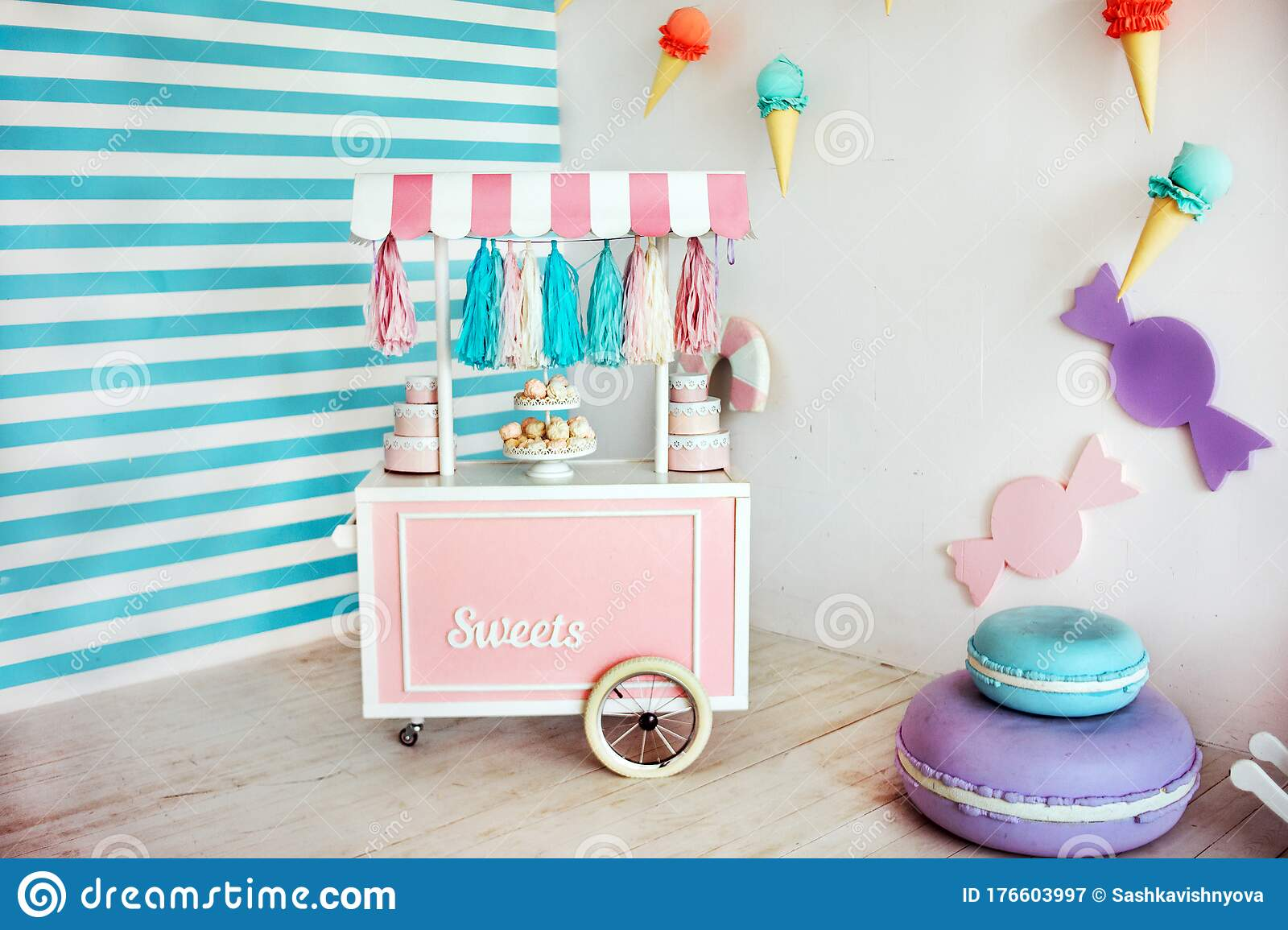 Decorative Wooden Cart With Pink And Blue Candy Bar Stock Image Image Of Childhood Color 176603997