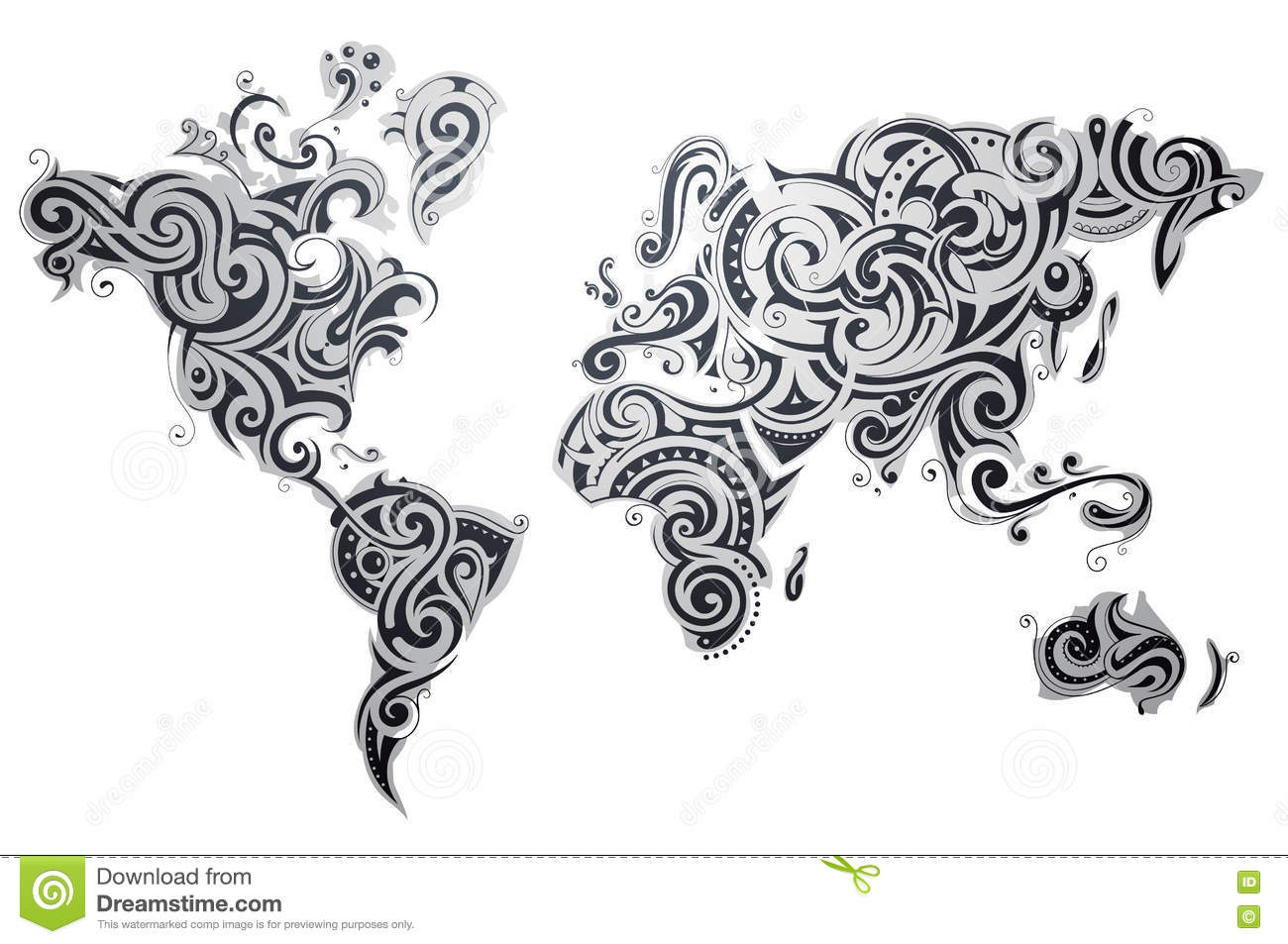 Decorative world map ornament stock vector illustration of design download comp gumiabroncs Images