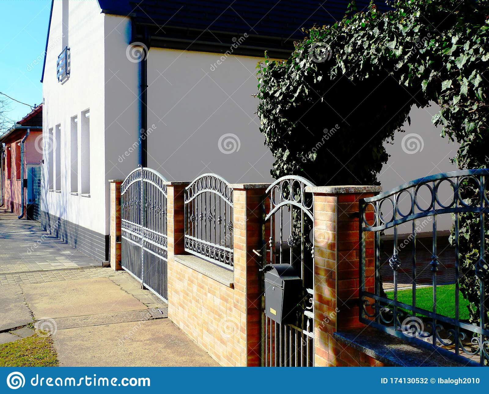 Forged Metal Gate Fence Brick Pillars Stock Photo Edit Now 478567012
