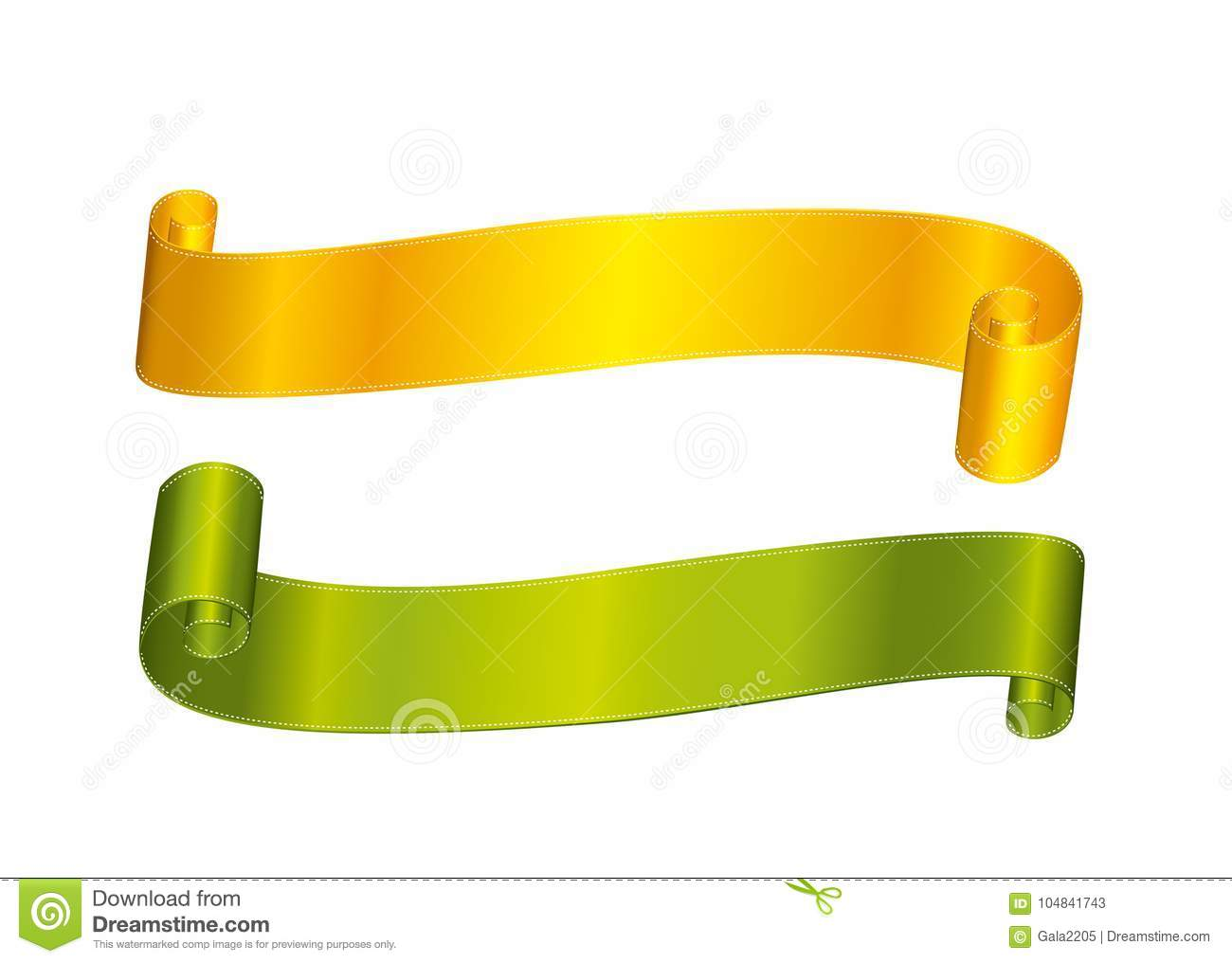 Decorative Yellow/gold And Green Ribbons Banner With Copy Space ...