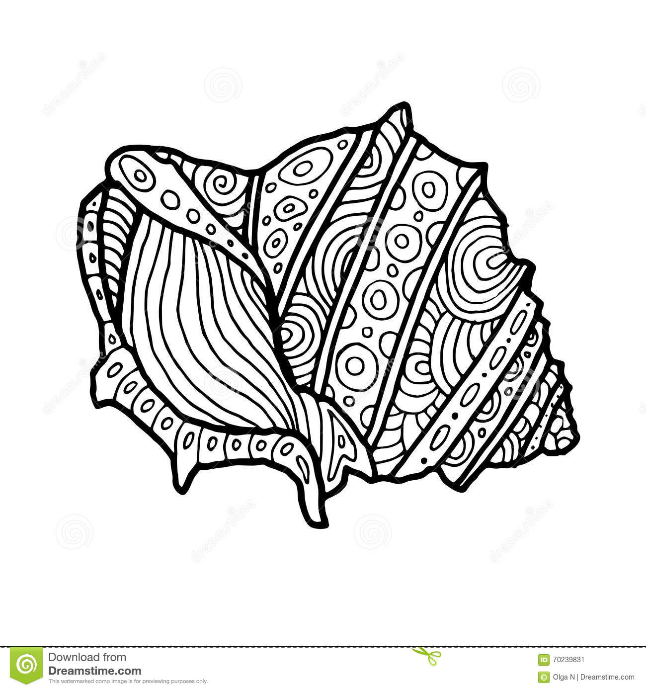 Decorative zentangle sea shell illustration outline for Sea shell coloring pages