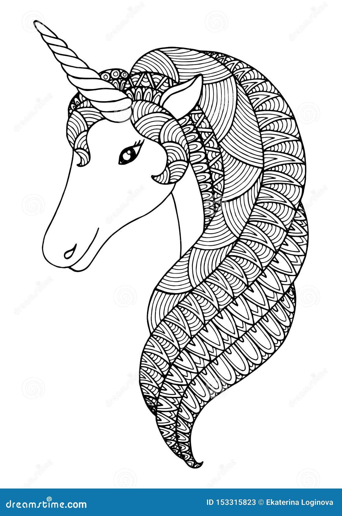 Decorative Zentangle Unicorn Stock Vector - Illustration ...