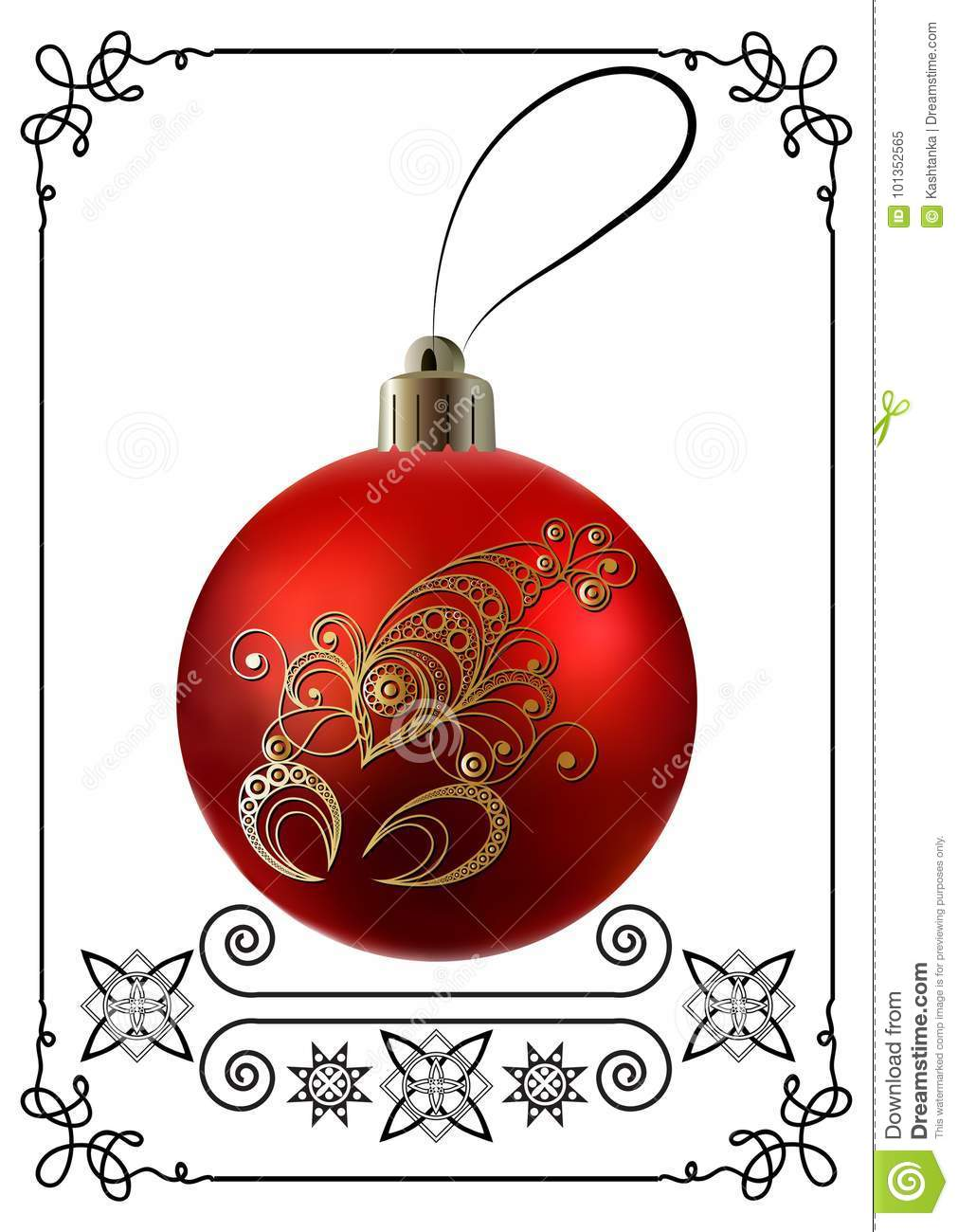Graphic illustration with Christmas decoration 26