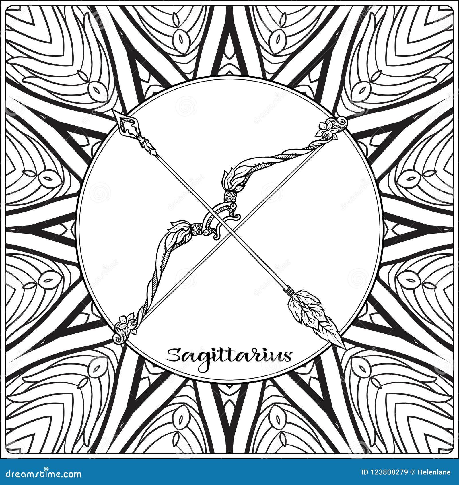 Decorative zodiac sign on pattern background.