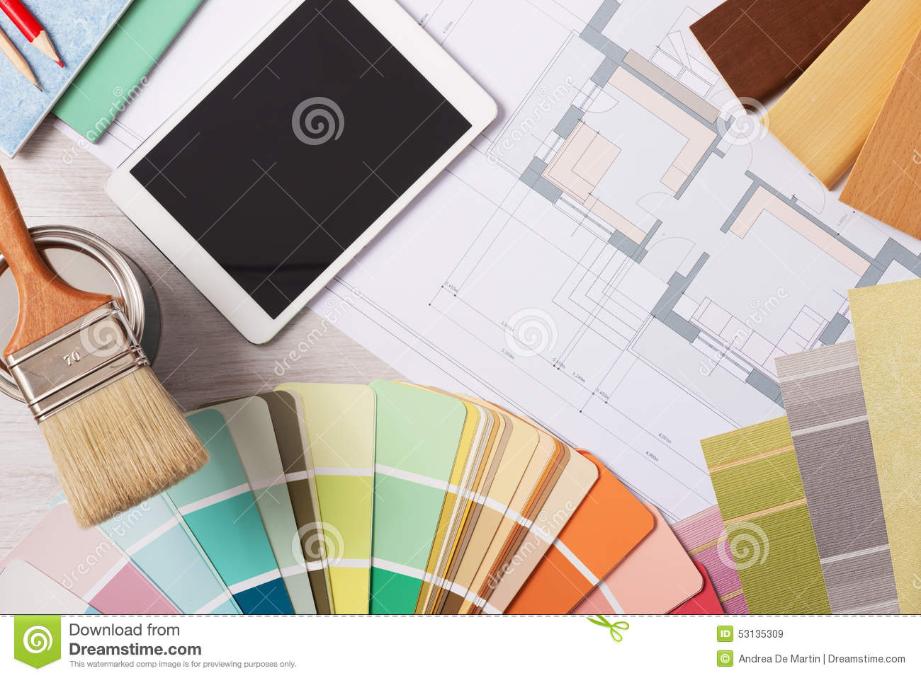 Decorator 39 S Work Table With Tools Stock Photo Image 53135309