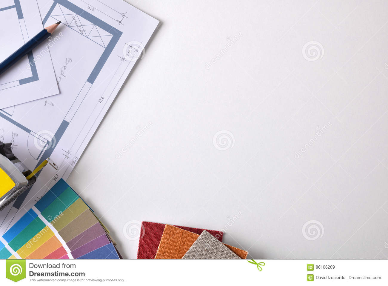 Decorator Workbench Background With Plan And Tools Top Royalty Free Stock Photography