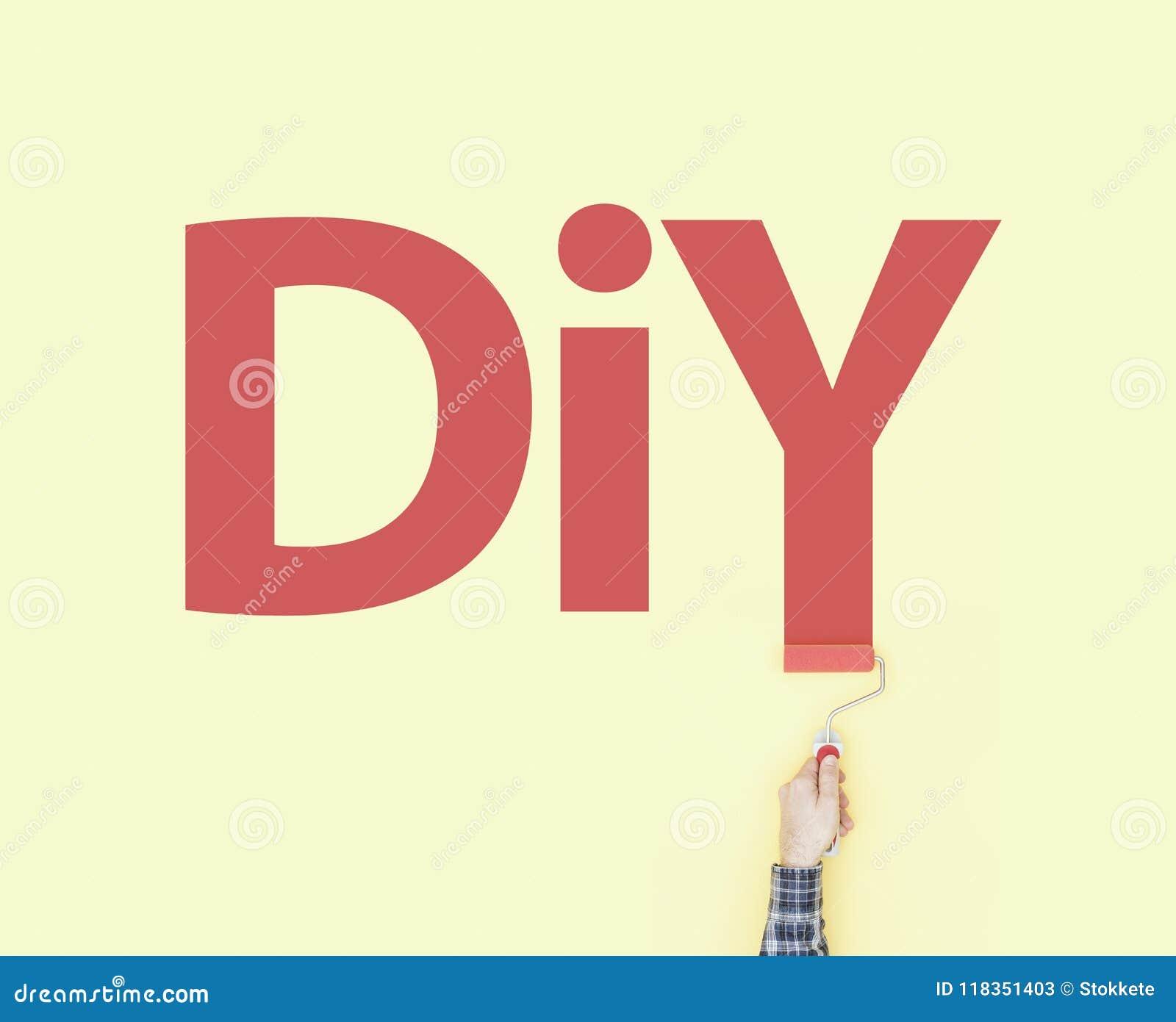 Decorator Painting DIY On A Wall Stock Image - Image of handyman ...