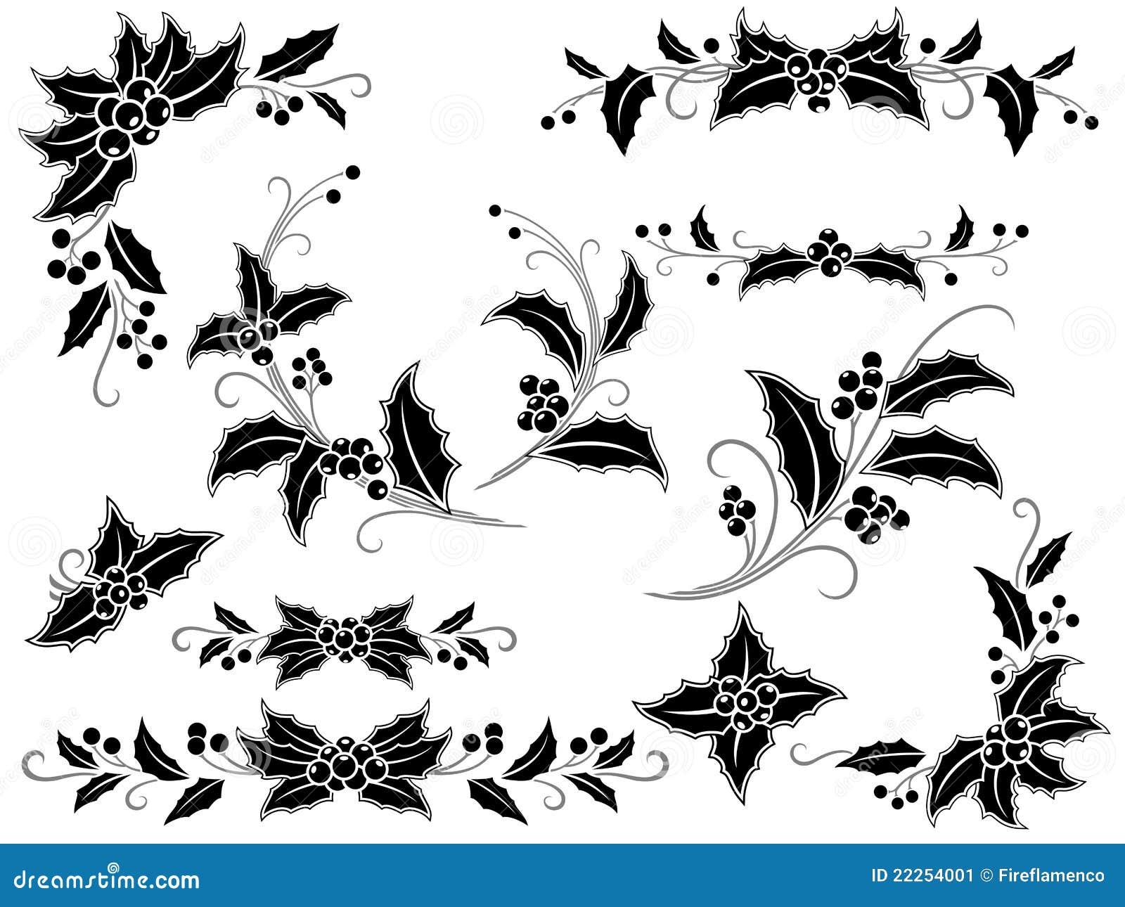 bf7d8b6e81 Decorazione In Bianco E Nero Dell'agrifoglio Di Natale Illustrazione ...