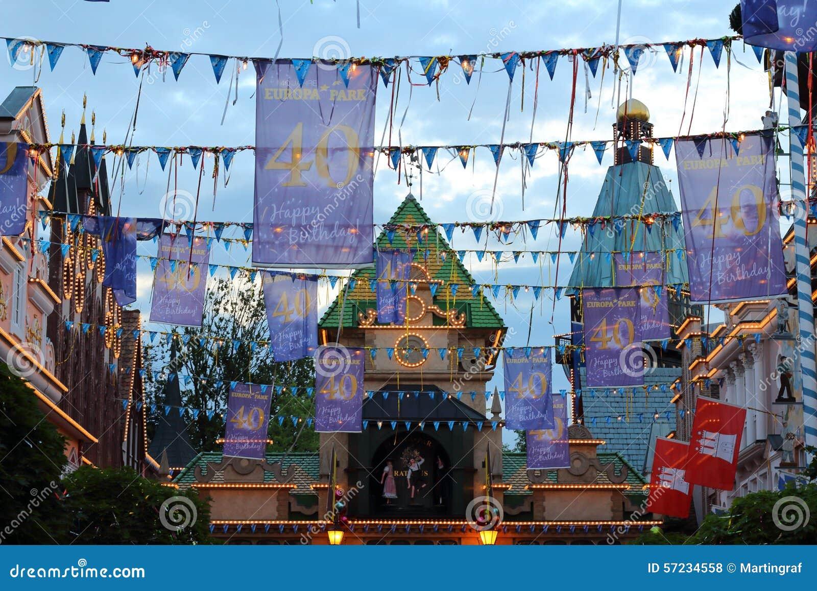 Decorazione del parco di europa di buon compleanno
