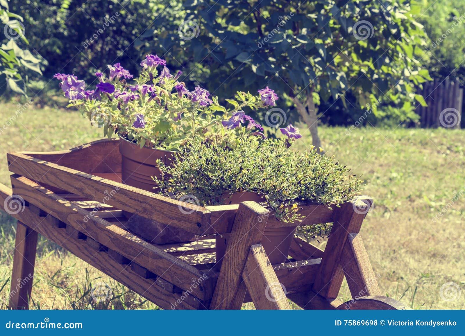 Fabulous download decorazione di legno della carriola con i fiori in un giardino fotografia - Decorare un giardino ...