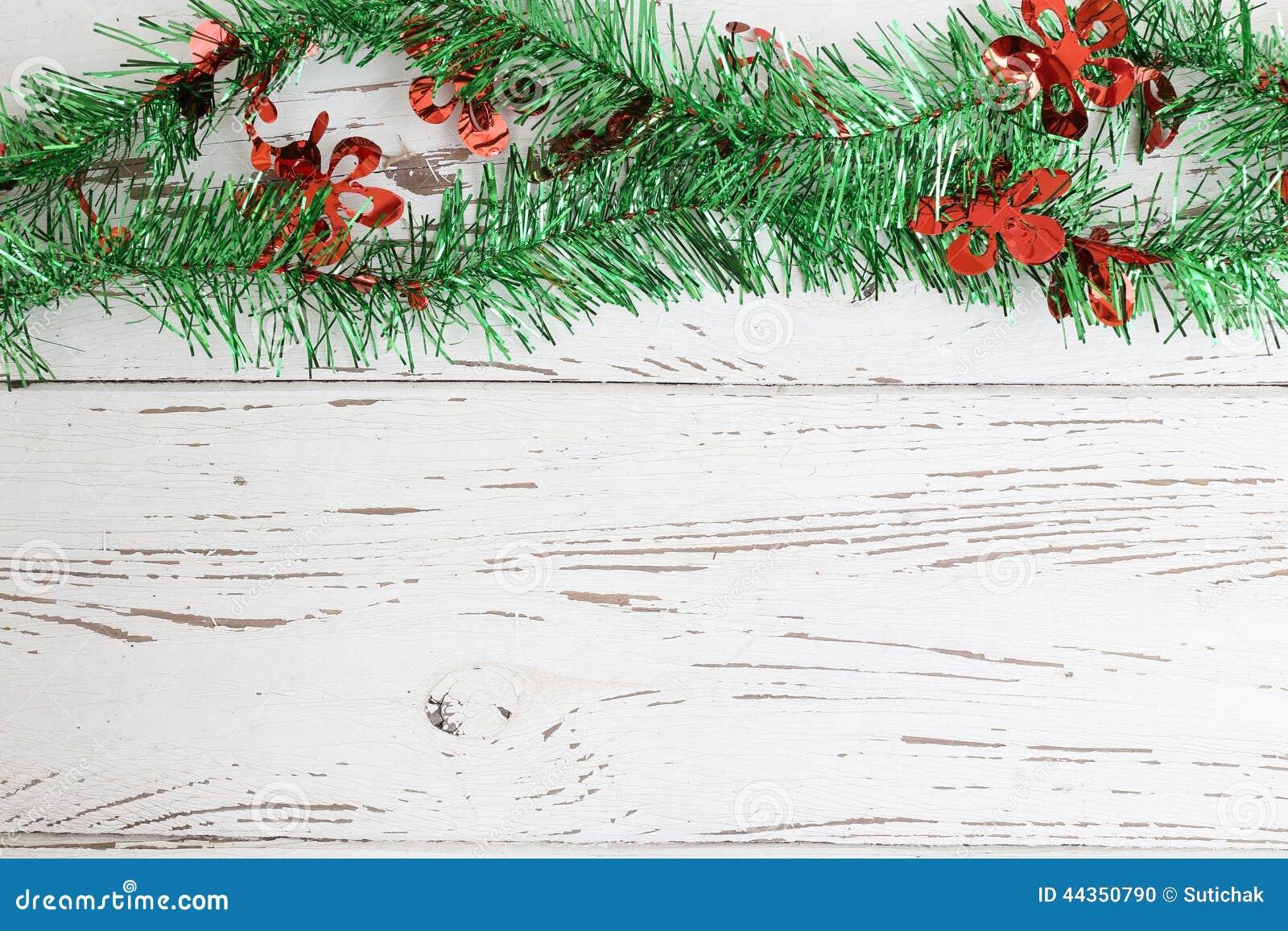 Decorazione di Natale su legno bianco