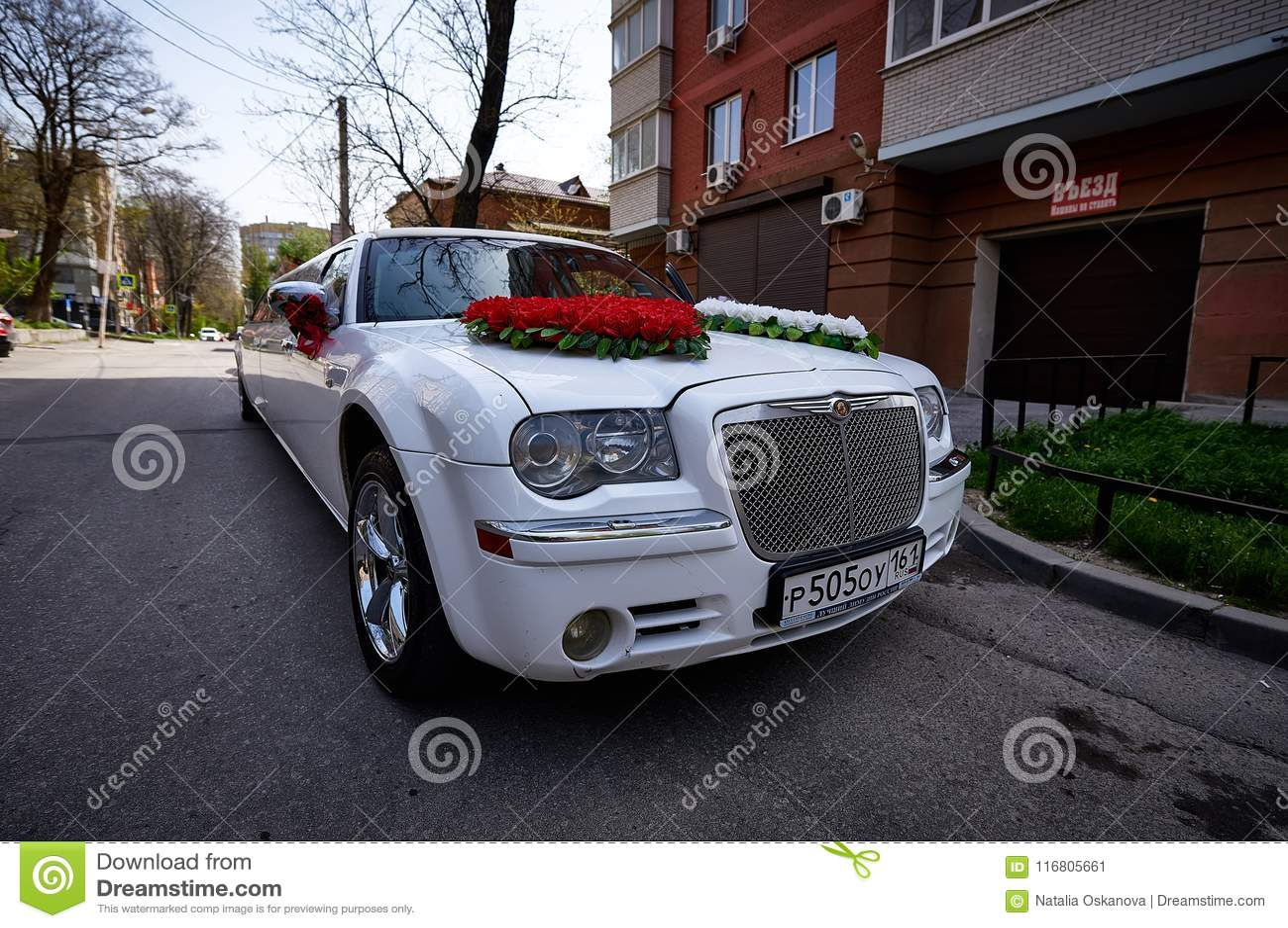 Decorazione di nozze sull automobile di nozze