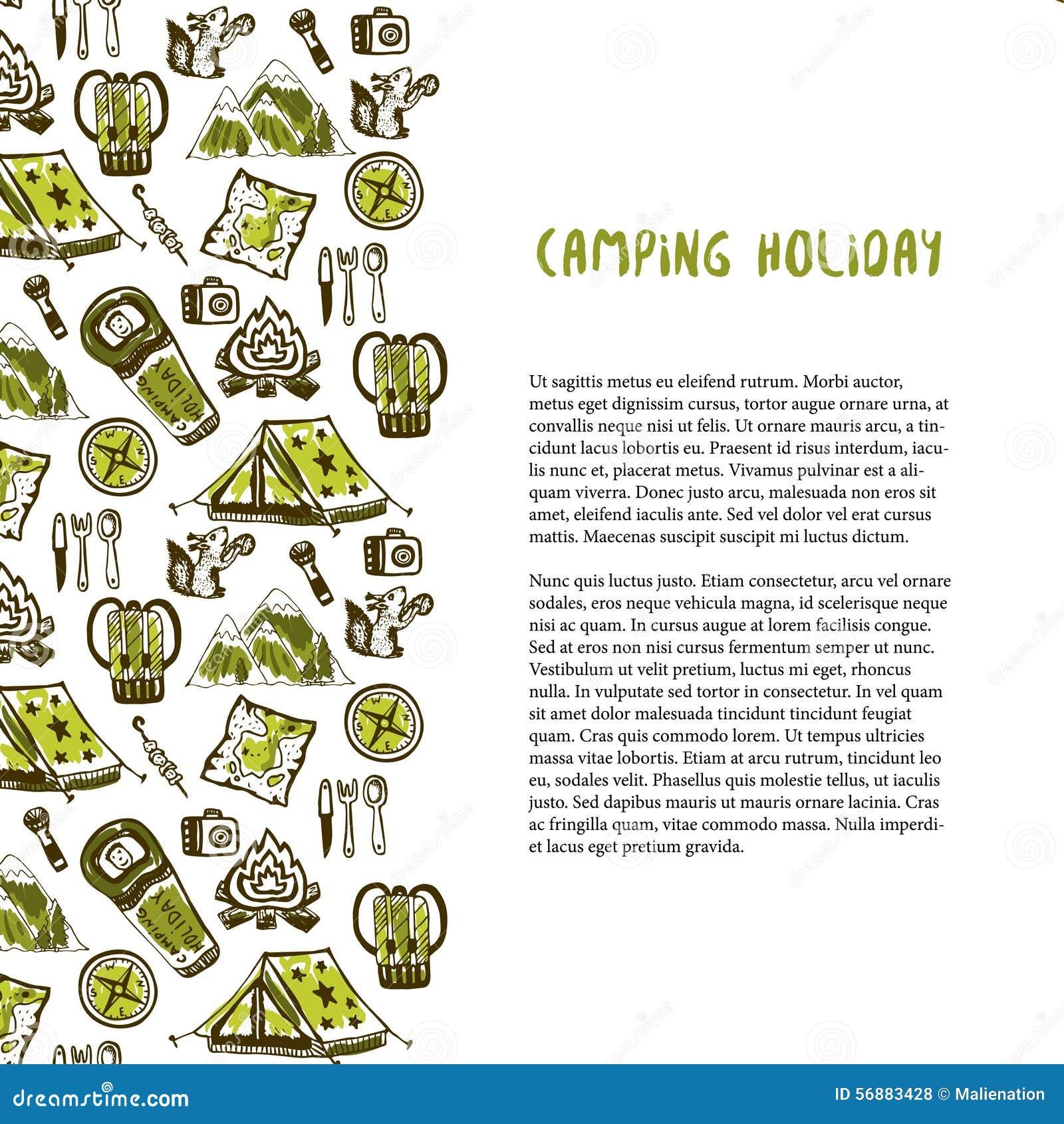 Decorazione disegnata a mano con gli elementi di vacanza in campeggio Fondo di vacanze estive Modello di viaggio di vettore