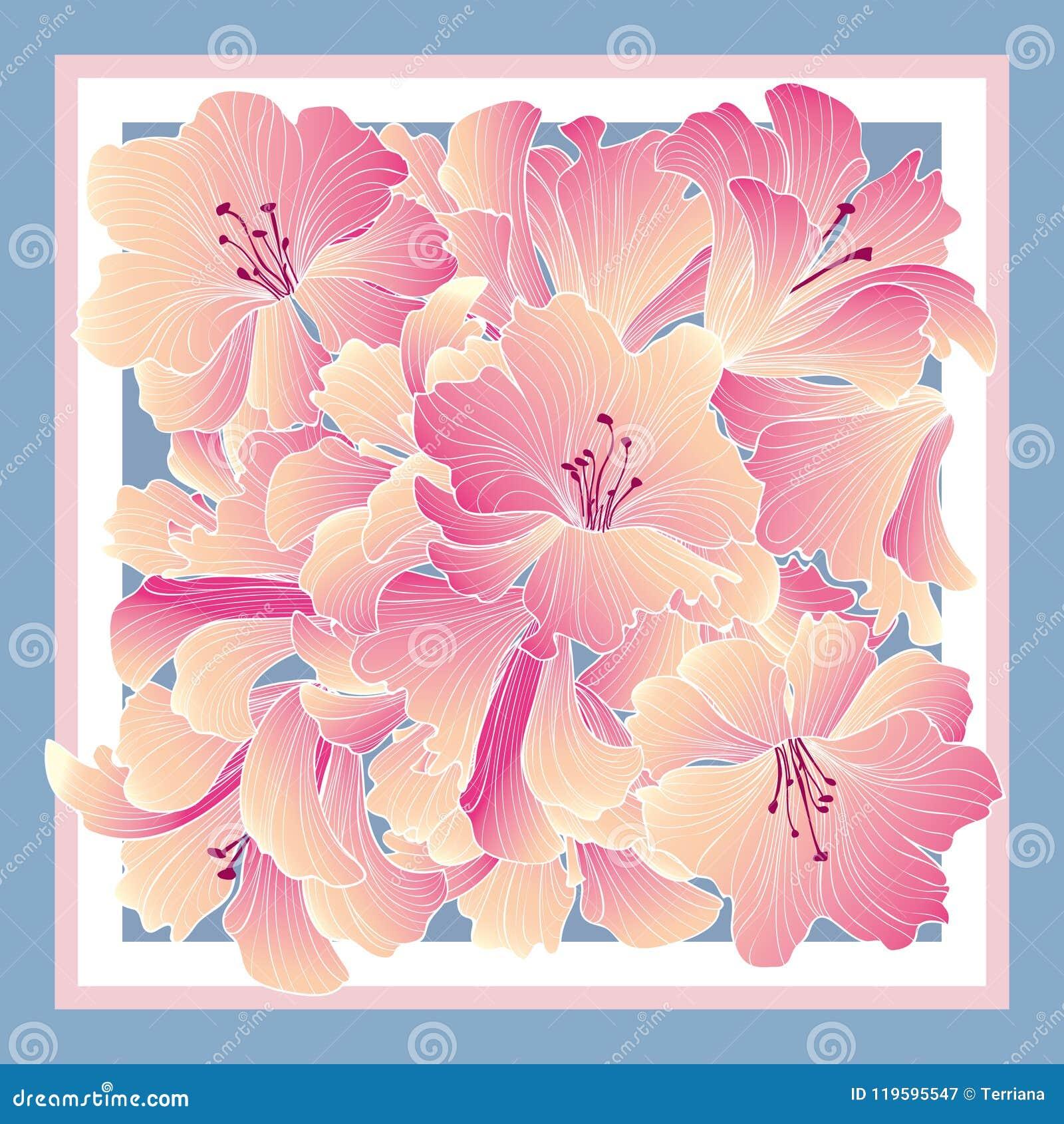 Decorazione floreale del modello per tiussiue di seta - Modello di base del fiore ...