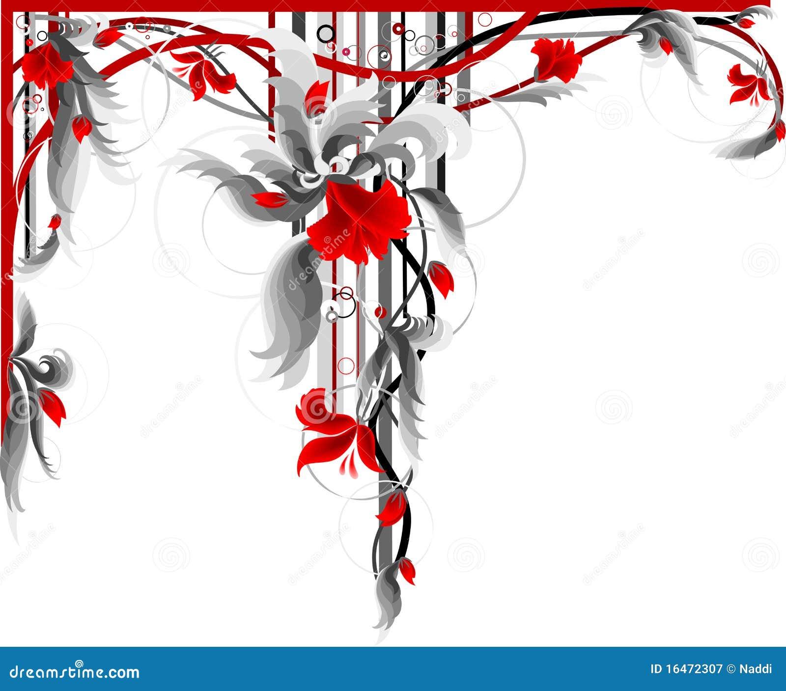 Decorazione floreale rossa illustrazione vettoriale for Decorazione floreale