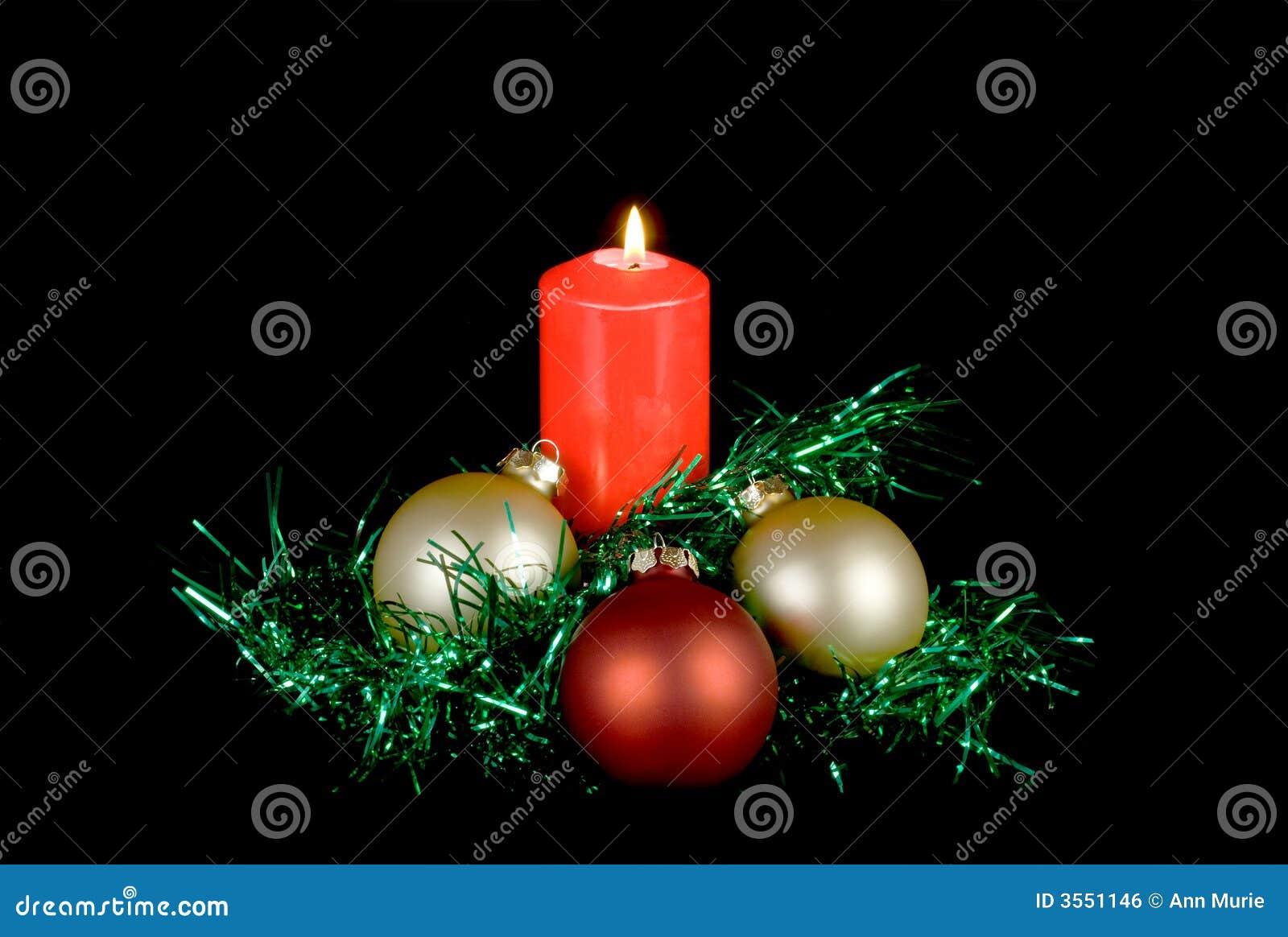 Decorazione rossa di natale della candela