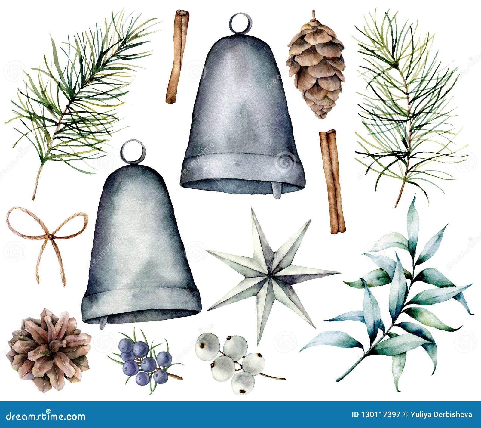 Decorazione scandinava di Natale dell acquerello Rami dell abete e coni dipinti a mano, campane d argento, stella, ginepro, snowb