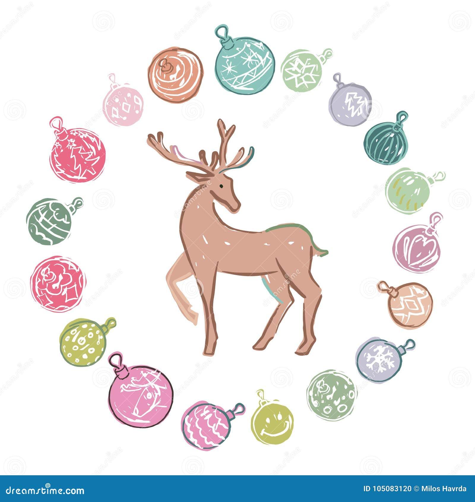 Decorazioni Di Natale Disegni.Decorazioni Di Natale Colorate Fumetto Con La Renna