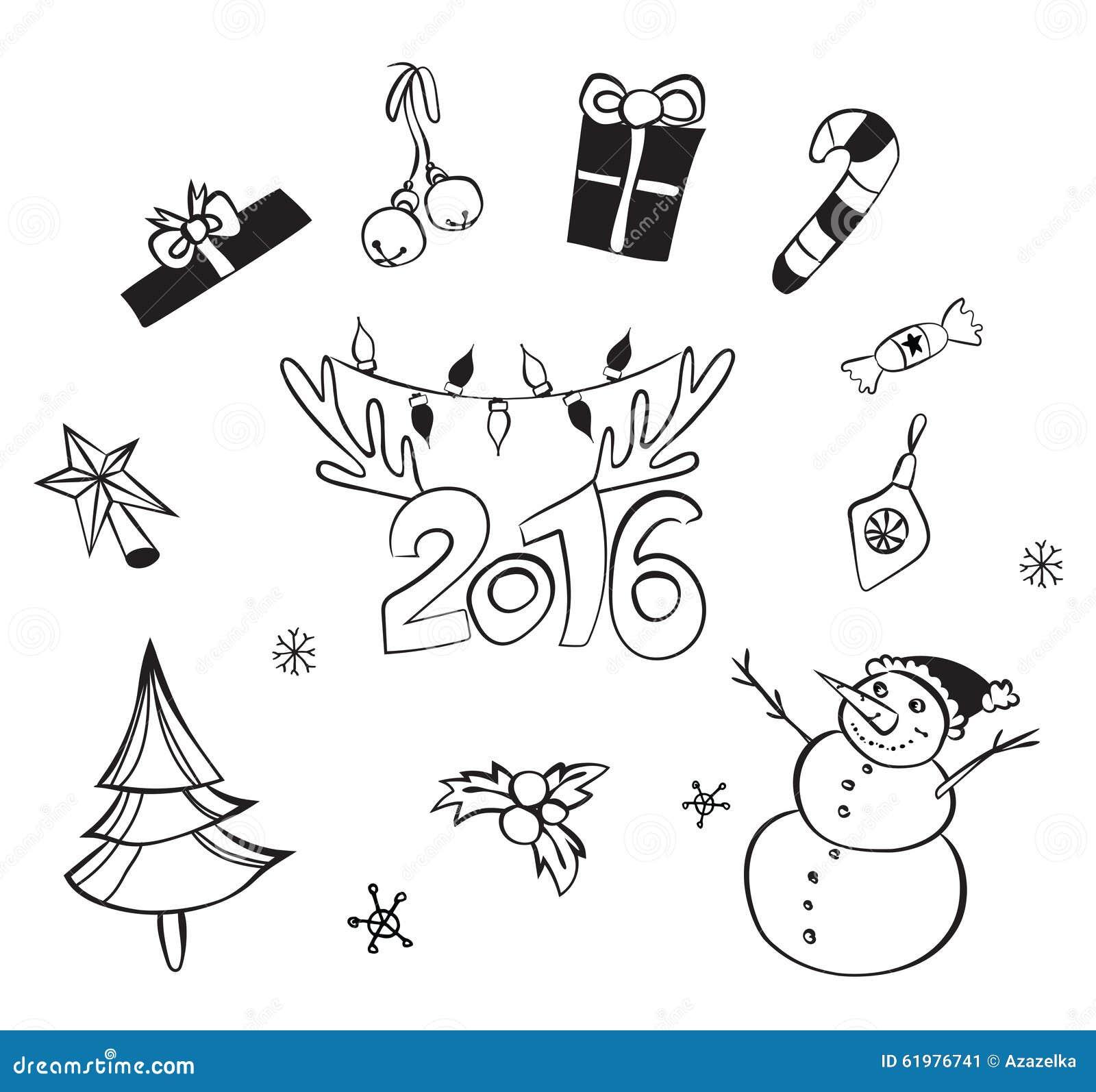 Decorazioni Di Natale Disegni.Decorazioni Di Natale Impostate Icone Di Vettore Accumulazione Degli