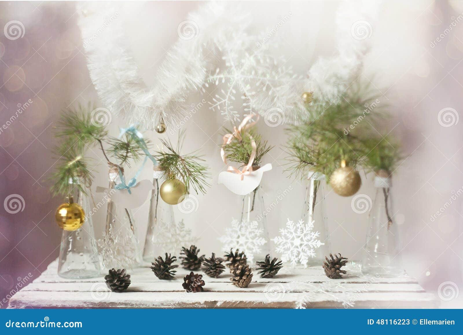 Decorazioni di natale su un ramo dell 39 albero in vasi di for Vasi ermetici vetro